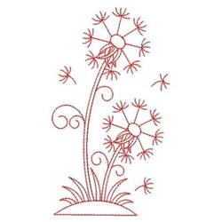 Redwork Dandelion Blooms embroidery design