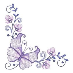 Rippled Butterfly Corner embroidery design