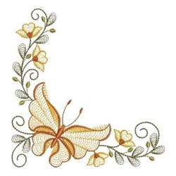Butterfly Corner embroidery design