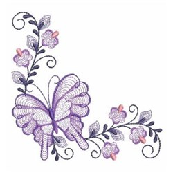 Butterfly Rippled Corner embroidery design
