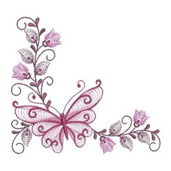 Rippled Butterfly Corners embroidery design