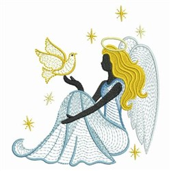 Rippled Dove Angel embroidery design