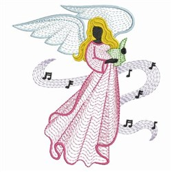 Rippled Music Angel embroidery design