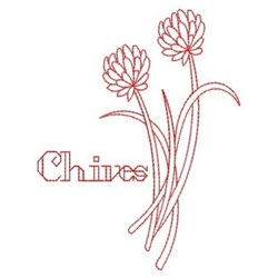 Redwork Chives embroidery design