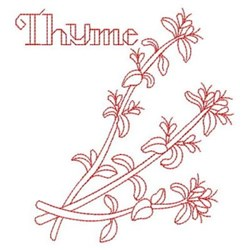 Redwork Thyme embroidery design