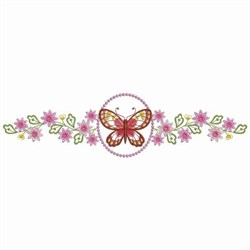 Butterfly Floral Borders embroidery design