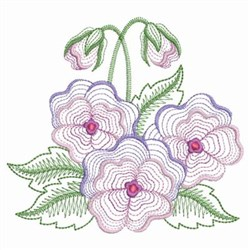 Rippled Pansies embroidery design