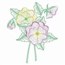 Rippled Pansy embroidery design