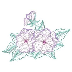 Rippled Pansy Flowers embroidery design