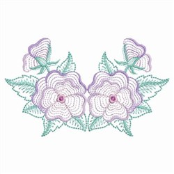Rippled Pansy Blooms embroidery design