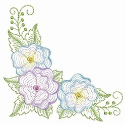 Rippled Pansy Corner embroidery design
