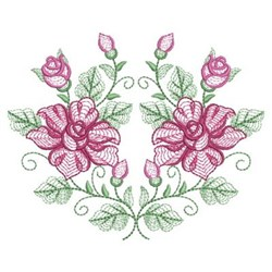 Rippled Heirloom Roses embroidery design