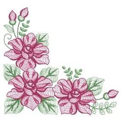 Rippled Corner Roses embroidery design