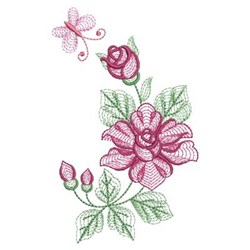 Rippled Butterfly Roses embroidery design