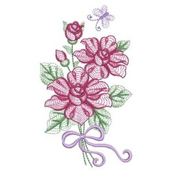 Rippled Rose Bouquet embroidery design