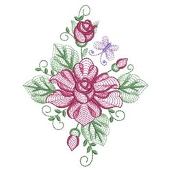 Rippled Roses Diamond embroidery design