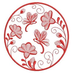 Redwork Dragonfly Floral embroidery design