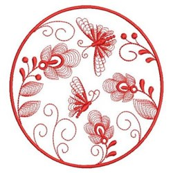 Redwork Butterfly Flowers embroidery design