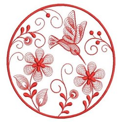 Redwork Hummingbird Flowers embroidery design