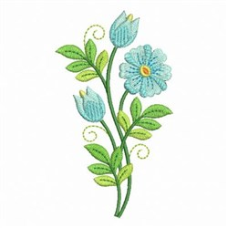 Heirloom Blue Flowers embroidery design