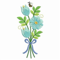 Bouquet & Bee embroidery design
