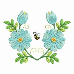 Bee & Flowers embroidery design