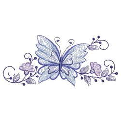Rippled Butterfly Border embroidery design