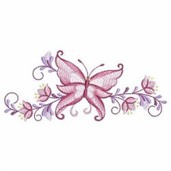 Rippled Border Butterfly embroidery design