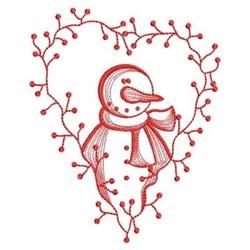 Redwork Heart Snowman embroidery design