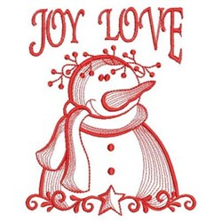 Joy Love Snowman embroidery design
