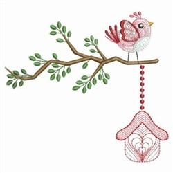 Birdhouse Tree embroidery design