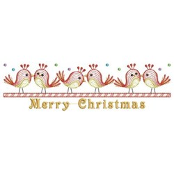 Merry Christmas Birds embroidery design