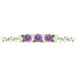 Purple Floral Border embroidery design