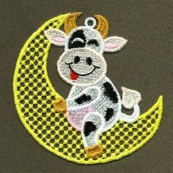 FSL Cow On Moon embroidery design