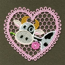 FSL Heart Cow embroidery design