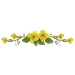 Yellow Floral Border embroidery design