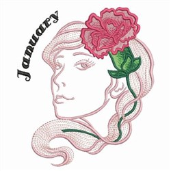 January Flower Beauty embroidery design
