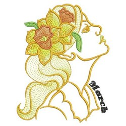 March Flower Beauty embroidery design