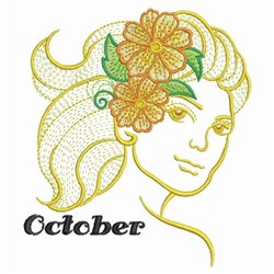 October Flower Beauty embroidery design
