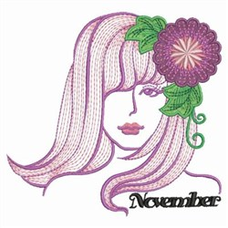 November Flower Beauty embroidery design