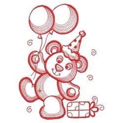 Redwork Cute Teddy Bear embroidery design