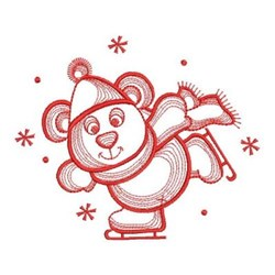 Ice Skate Bear embroidery design
