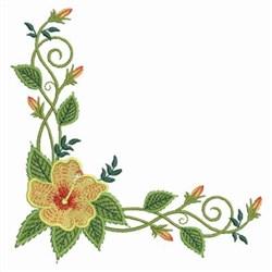 Hibiscus Corner embroidery design