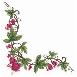 Bleeding Heart Corner embroidery design