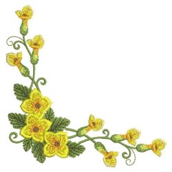 Yellow Floral Corner embroidery design