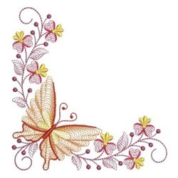 Rippled Corner Butterfly embroidery design