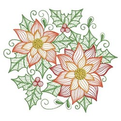 Rippled Poinsettias embroidery design