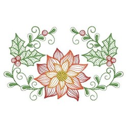 Holiday Poinsettia embroidery design
