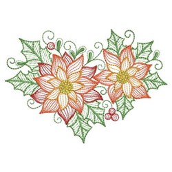 Poinsettia Flowers embroidery design