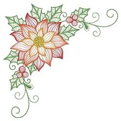 Corner Poinsettia embroidery design